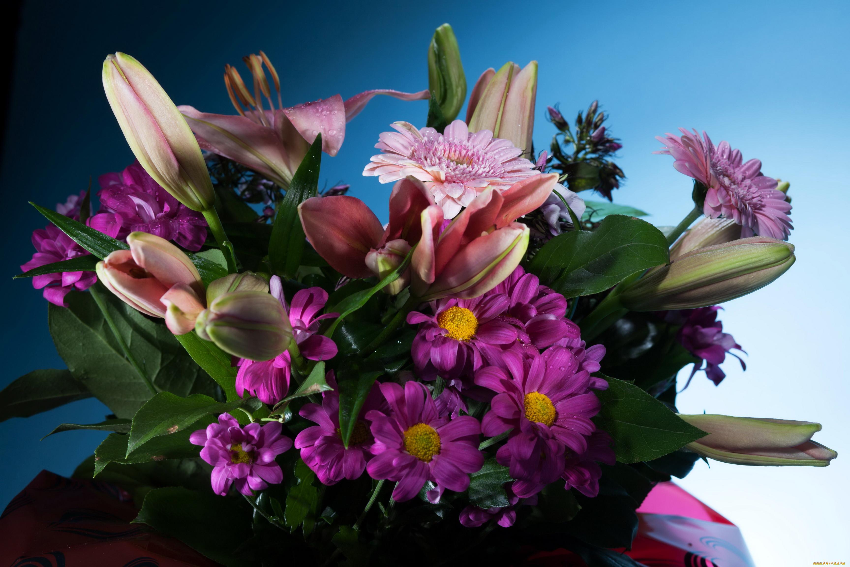 красивый букет цветов фото лилии этого